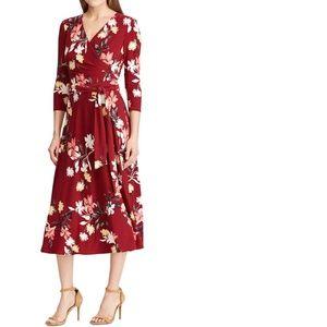 Vibrant Garnet & Pink Floral Tie-Waist Midi Dress